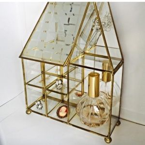 Other - Vintage Curio Gold & Glass House Display Case